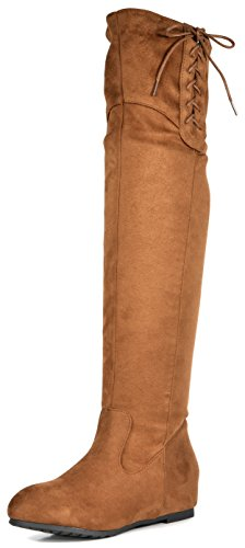 Hidden Wedge Boot - DREAM PAIRS Women's Drew Tan Hidden Wedges Heel Over The Knee Boots Size 8.5 M US