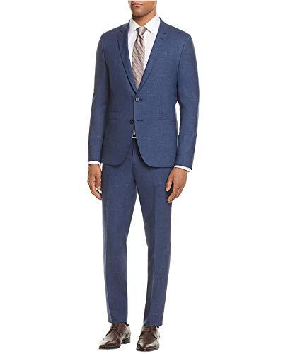 Hugo Hugo Boss Men's Blue Arti/hesten Slim Fit Shadow Check Suit Open Blue Size 42L