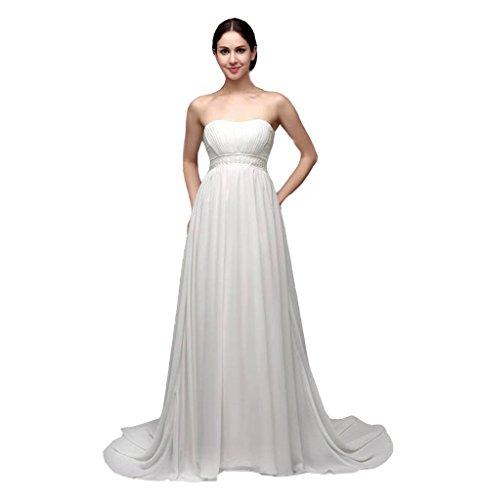 HHBY Women's Strapless Waist is Beads Zipper Wedding Dress White Size US - Modern Bridal Dresses