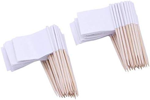 Zahnstocher Flaggen Leere,100 Stücke Flaggenpicker Weiße Flaggen Deko-Picker Kleine Zahnstocher für Party Kuchen Lebensmittel Käseplatte Vorspeisen 3.5 * 2.5 cm