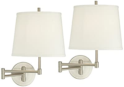 Oray Brushed Steel Swing Arm Wall Lamp Set of 2