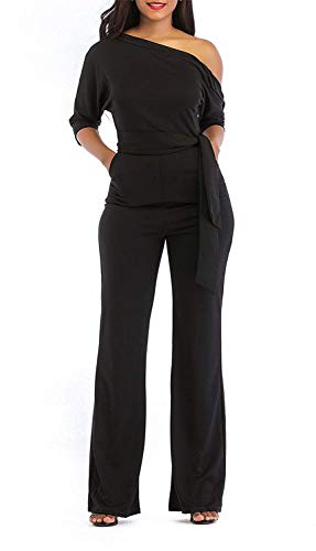 ThusFar Women's Sexy One Off Shoulder Jumpsuits Wide Leg Long Romper Pants with Belt (M, Black)
