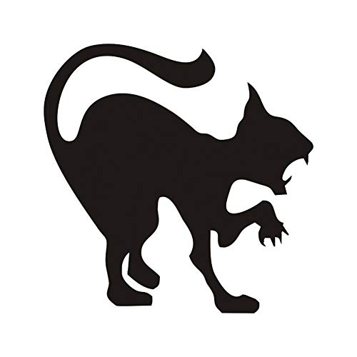 ALXCHD Scary Black Cat Wall Sticker Halloween Decoration Hissing Cat Vinyl Decal Wall Art, Angry Cat Hallowmas Home Decor -