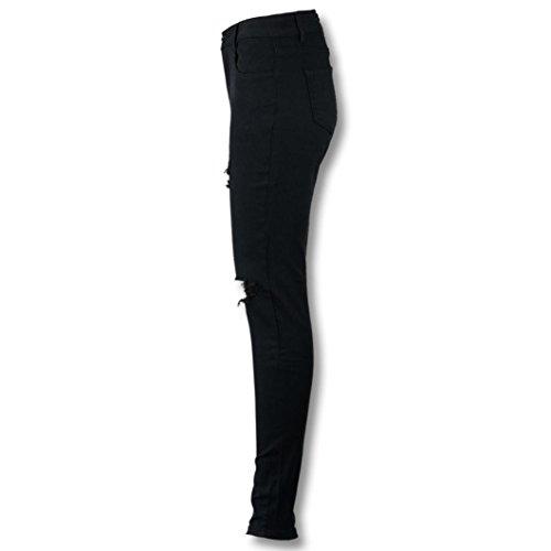 Da Skinny Strappati Vita Elastico Nero Taglio Lunghi Con E Slim Alta Pantaloni Lunghi Ashop Donna pantaloni XqxwzvFx