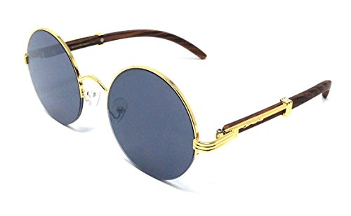 Professor Half Rim Round Lens Metal & Wood Sunglasses (Gold & Cherry Wood Frame, Black Super - Sunglasses Quavo