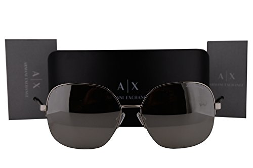 Armani Exchange AX2021S Sunglasses Silver w/Light Gray Mirror Silver Lens 60436G AX - Exchange Sunglasses Rectangular Aviator Armani