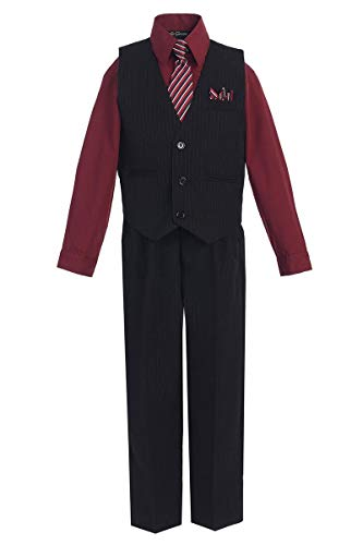 iGirldress Big Boys' Special Occasion Pinstripe Vest Set Black/Burgundy 8]()