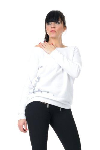 felpa Barca Nero Donna Con Maglione Punk Blu sweater 3elfen Bianco Stampa Fata Grigio Bianco Grigio Rosso Scollatura IxHXfpUqw