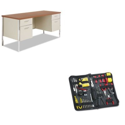 KITALESD6024PCFEL49106 - Value Kit - Best Double Pedestal Steel Credenza (ALESD6024PC) and Fellowes 55-Piece Computer Tool Kit in Black Vinyl Zipper Case (FEL49106)