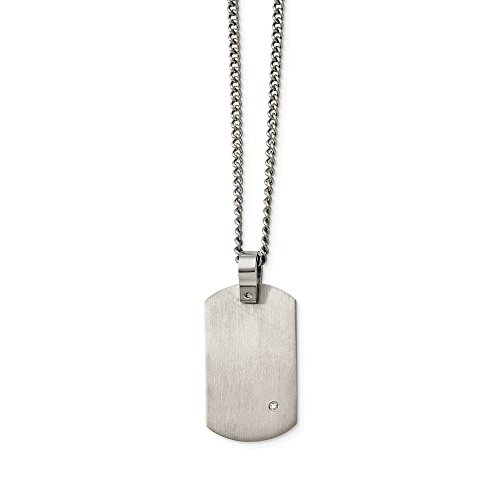 ICE CARATS Titanium .02ct. Diamond Accent Chain Necklace Man Pendant Charm Fashion Jewelry Gift for Dad Mens for Him