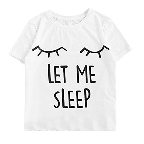 Auimank Summer Tops for Women Loose Short Sleeve Print O-Neck Plain Basic Tee Top Blouse Shirts(White,Large)