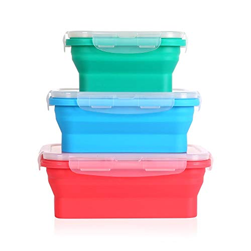 Collapsible silicone food storage containers w/BPA free airtight plastic lids-Set of 3 small and large meal cereal prep container bowl kitchen pantry organization, kids lunch boxes-Microwave & freezer