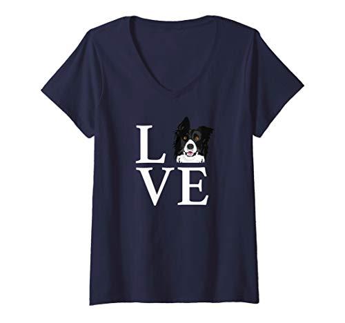 Womens Funny I Love My Border Collie Australian Shepherd V-Neck T-Shirt