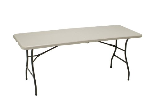 MECO 6-Feet Folding Table, Mocha Metal Frame and Cream Plastic Top