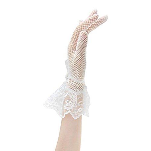 Fenteer ドレス ワンピース 手袋 レース グロブ 手首 メッシュ レディース 白+黒 快適 2枚