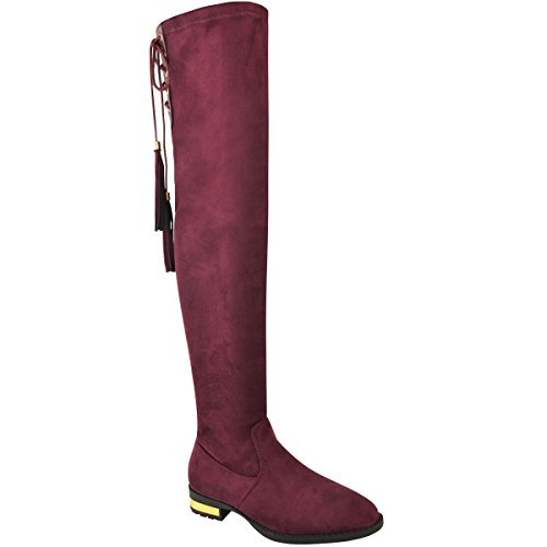 Size Flat Faux Burgunday The Knee Thigh Faux Boots High Dark Thirsty Shoes Fashion Womens Red Over Suede Tassel Suede qTOXHS