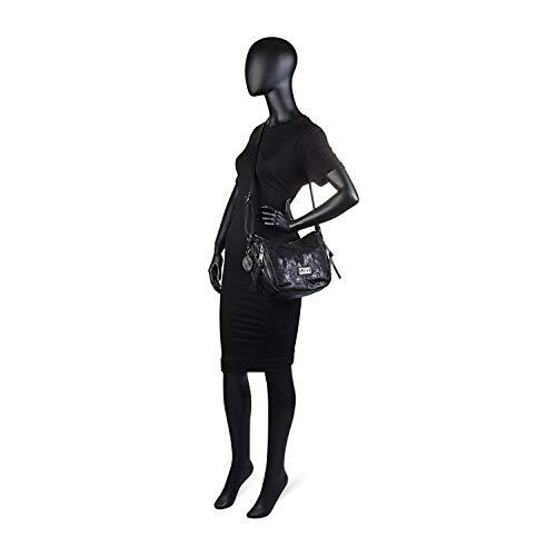 Bolso góndola para Negro Cremallera Negro Exterior con Color 94956 Bolsillo sintética detrás Bandolera Cierre Polipiel Decorado Lois Remaches Ajustable Tipo con Mujer Piel X5Y4gxwq