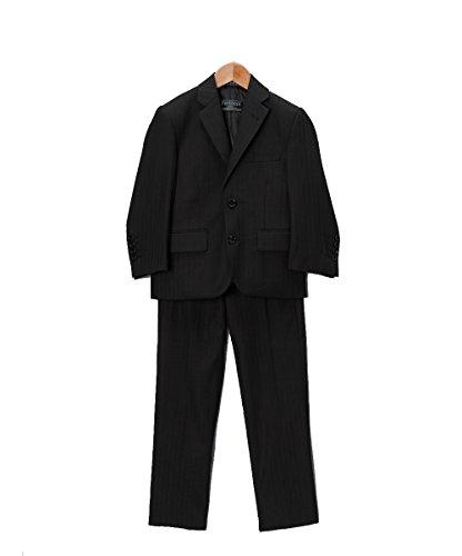 20 Ferrecci Boys 2548 Black Tone on Tone Striped 3pc Suit (Pocket Suit Flap Striped)