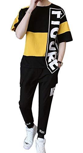 UUYUK Men Casual Pants Trousers Letter Print Vogue 2 Piece Suit Outfits Hip Hop Summer Tracksuit Black S