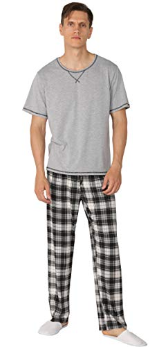(YIMANIE Men's Pajama Set Soft Cotton Short Sleeves and Pajamas Pants Classic Sleepwear Lounge Set)