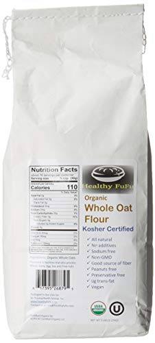 Healthy FuFu Organic Whole Oat Flour - Top Grade Finely Ground Oat Flour - Kosher - 5 lb