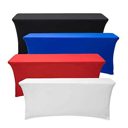 (Deluxe Stretch Fit Tablecloths 6 Foot Custom Logo Available in Blue Black Red & White (Stretch,)