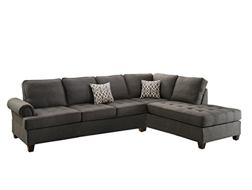 - Poundex Bobkona Azura Linen-Like Polyfabric Left or Right Chaise 2Piece SECTIONAL in Ash Grey