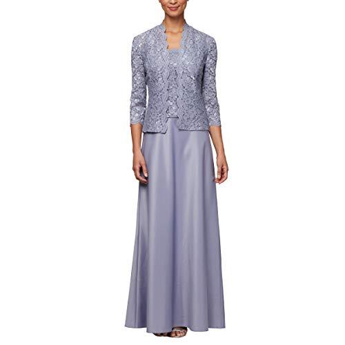 (Alex Evenings Women's Petite Sleeveless Dress and Matching Jacket, Iris, 14P)