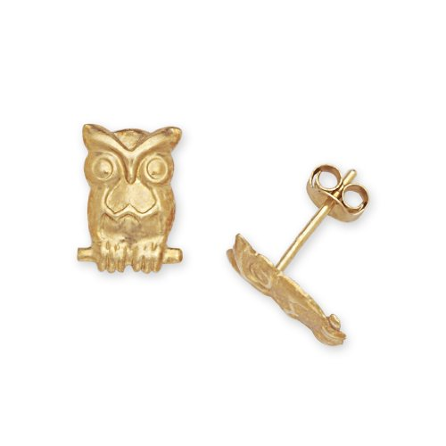 Owl Gold Yellow 14k (Solid 14k Yellow Gold Owl Friction-Back Post Earrings - JewelryWeb)