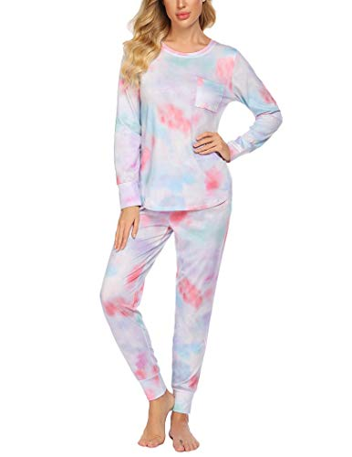 Ekouaer Pajamas Women's Long Sleeve Sleepwear with Long Pants Soft Loungewear Pj Set S-XXL