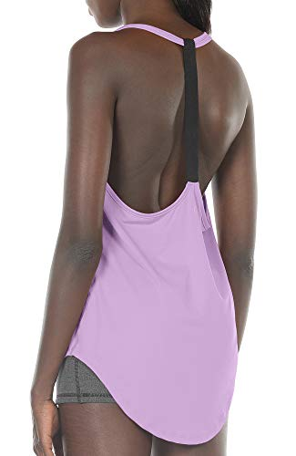 icyzone Workout Tank Tops for Women - Athletic Yoga Tops, T-Back Running Tank Top (XL, Lilac)