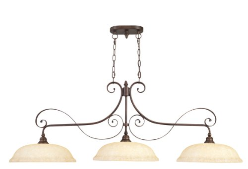 Livex Lighting 6154-58 Island Pendant with Vintage Scavo Glass Shades, Imperial Bronze