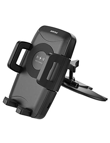 Mpow Qi Fast Wireless CD Slot Phone Mount, Auto Charging Powers (10W, 7.5W 5W), Compatible iPhone Xs MAX/XS/XR/X/8/8 Plus, Galaxy S9/S8/ S8 plus/S7/S7 Edge/S6 Edge Plus/Note 5, Nokia Lumia920