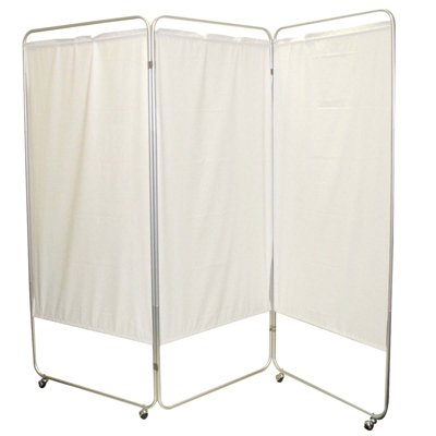 FBC King Size 3-Panel Privacy Screen with casters - Yellow 4 mil Vinyl, 85'' W x 68'' H Extended, 31'' W x 68'' H x2.5 D Folded