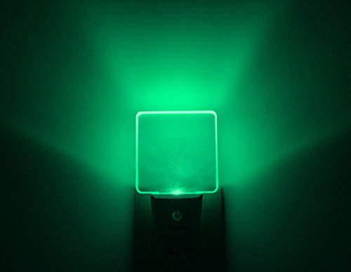 Bright Green Glow, Auto ON/Off Plug in LED Night Light with Dusk to Dawn Sensor [Pack of 2] ()