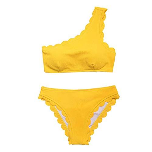 Weiliru Women Two Piece Push Up Tankini Sets Wave Beachwear Swimsuit Bikini Yellow