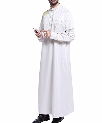 Aooword Mens Thobe Abaya Long Sleeve Buckle Loose Fit Comfort Muslim Wear Gray XS by Aooword-men clothes
