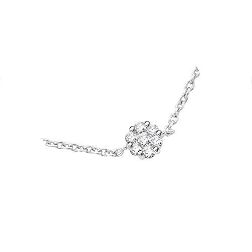 Libertini Colliar argent 925 serti de Diamant en forme de Fleur