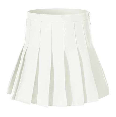 Beautifulfashionlife Women High Waist Solid Pleated Mini Slim Single Tennis Skirts (M, White) Button Pleated Mini Skirt