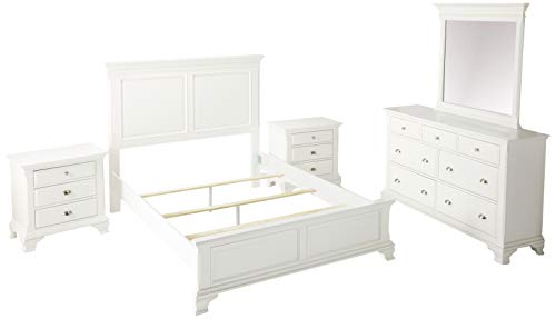 Roundhill Furniture B012KDMN2 Laveno 012 Wood Bed Room Set, King, White (Size Sets King Furniture For Cheap)