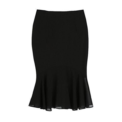 CHENGYANG Femme Midi Uni Asymetrique Jupe Moulant Crayon Taille Haute Longue Jupe Cocktail Noir#2