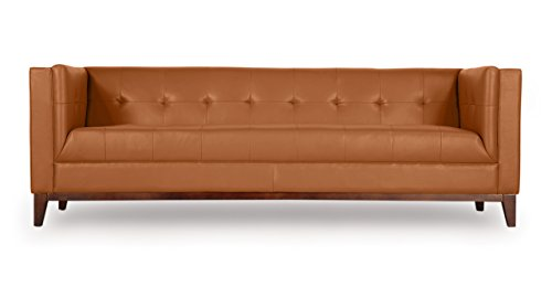 Kardiel Harrison Mid-Century Modern Loft Sofa, Saddle Brown Aniline Leather