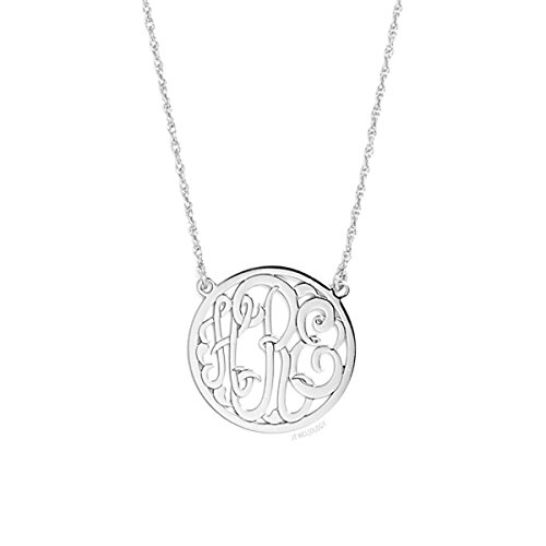 FUJIN 925 Sterling Silver Personalized Monogram Necklace Custom Made with 3 Initials (Silver) ()