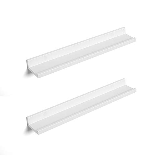 SONGMICS Wall Shelves Set of 2, Floating Shelves Ledge 23-inch Long, Picture Shelving Ledge Modern Design Storage, Easy Assembly, MDF White ()