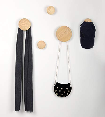 Wall Hooks Coat Hooks 5Pcs Dots Hook Door Hanger Hook For The Wall,Living Room,Bathroom,Home Decor.(Natural Wood)