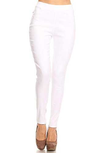 Women's Cotton Blend Super Stretchy Skinny Solid Jeggings White Medium