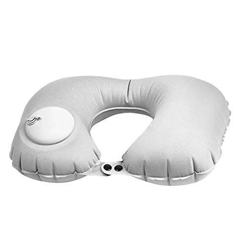 Fan-Ling Portable Multifunctional Travel Neck Pillow, Inflatable Airplane Car Train Pillow,Neck and Shoulder Relaxer Pillow,Neck Pain Relief Massage Pillow Neck Support Pillow (Gray)