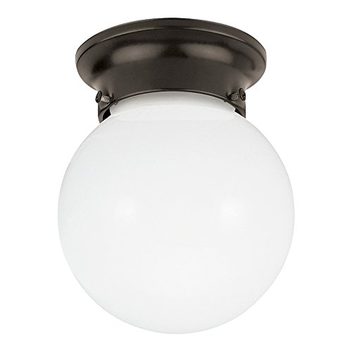 (Sea Gull Lighting 5366-782 Tomkin One-Light Flush Mount Ceiling Light with Smooth White Glass Diffuser, Heirloom Bronze Finish )