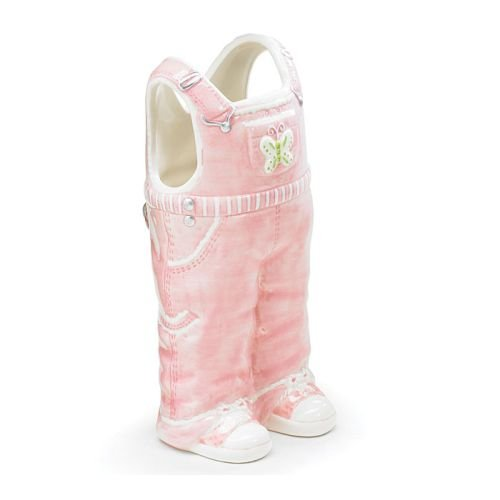 Adorable Pink Overall Vase Great Baby Nursery or Baby Shower - Vase Penny Flower