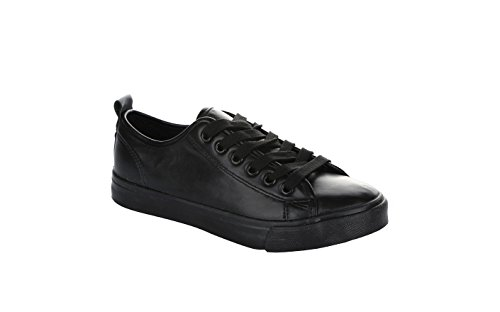 Black Stylish Fashion Monochromatic Leather Vegan up Sneakers Lace Shoes Round Colored Toe Low Top Comfortable rq7rW6g
